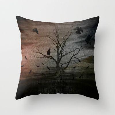 raven eyes Throw Pillow by Oscar Tello Muñoz - $20.00