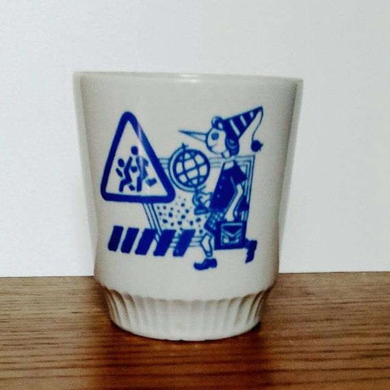 Vintage Cup Mug without handle with Pinocchio and by LucyMarket