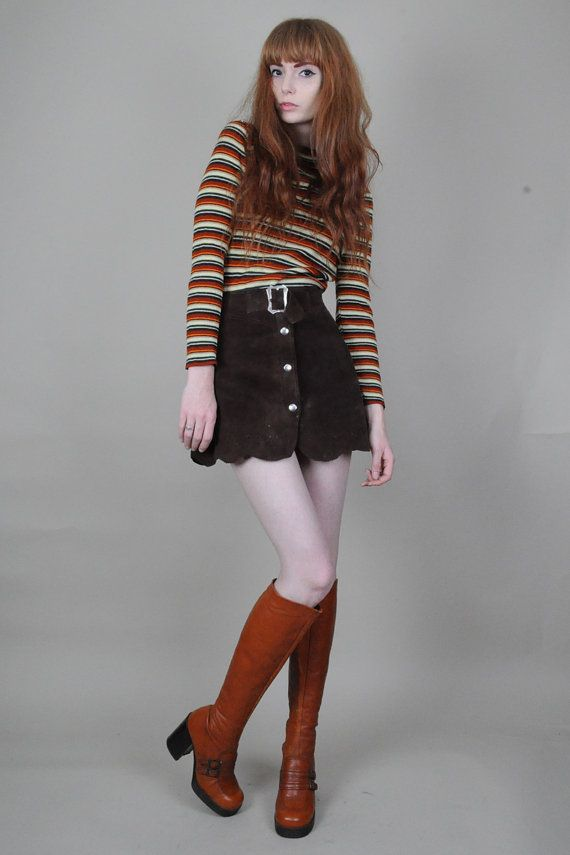 Vtg 60s 70s Brown Suede Buckle Snap Front Scalloped Hippie Boho Mini Skirt XS