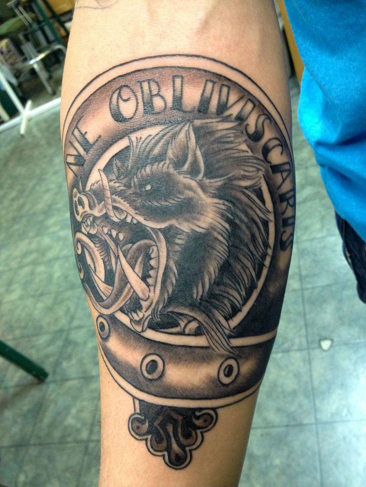 Grey ink wild angry boar head tattoo on right for Tattoos on right arm