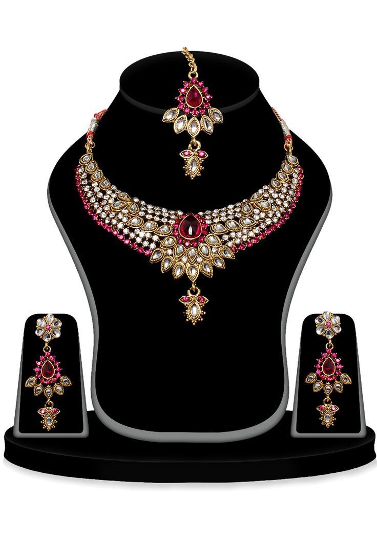 Fuchsia and White Austrian Diamond Studded Necklace Set: JVM1778