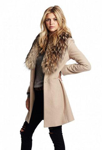 Sam. Crosby Wool Coat in Camel with Fur Trim