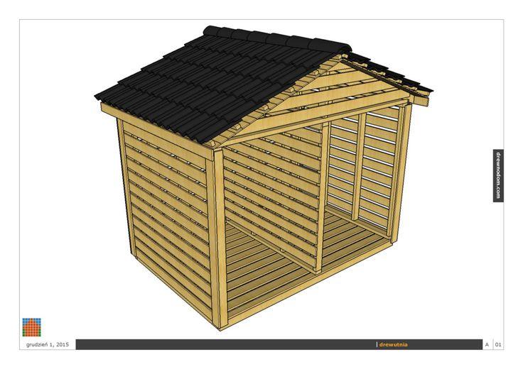 projekt drewutni drewnodom.com dachówka cementowa drewutnia