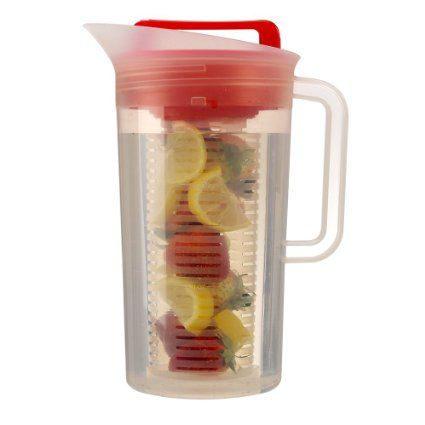 Amazon.com: Primula Today Shake and Infuse Pitcher, 3-Quart, Red: Kitchen & Dining.....      3 QT BPA-Free     Easy Access Flip-Top Lid     Leak-Proof, Shakable Pitcher for FASTER infusion     Removable Lockdown Infuser for No Mess     Easy To Clean, Dishwasher Safe and fits in most Refrigerator doors & comes in red, yellow & blue.  Have had it over 6 months now & love it.