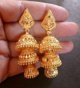 22K-Gold-Plated-3-Steps-Indian-Bridal-Party-Jhumka-Jhumki-Earrings-Set
