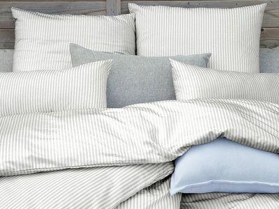 c501ff511f79d Parure housse de couette 240x220cm + taies percale coton fine rayure blanc gris  TIMOTEE