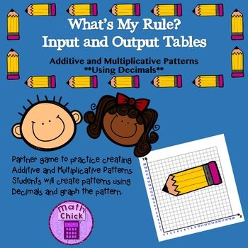Whats My Rule Additive and Multiplicative Patterns Using Decimals ...