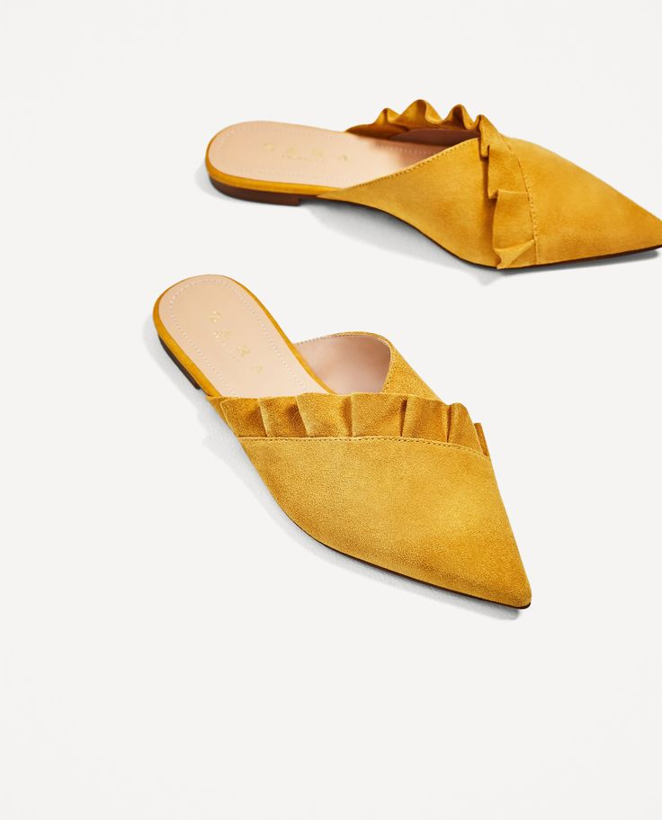 Image 3 of LEATHER MULES WITH FRILL from Zara