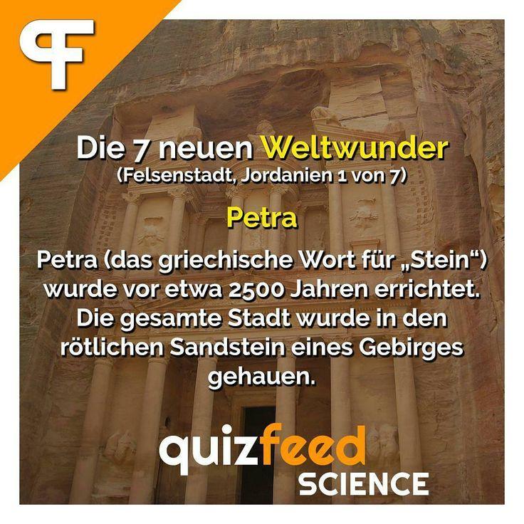 """Die 7 neuen Weltwunder Petra - Petra (das griechische Wort für """"Stein"""") wurde vor etwa 2500 Jahren errichtet. Die gesamte Stadt wurde in den rötlichen Sandstein eines Gebirges gehauen. Wissen clever verpackt! . #wunderdernatur #weltwunder #wunder #petra #steine #jordanien #felsen #gebirge #schön #reisen #wanderlust"""