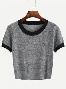 Grey Contrast Trim Knitted T-shirt
