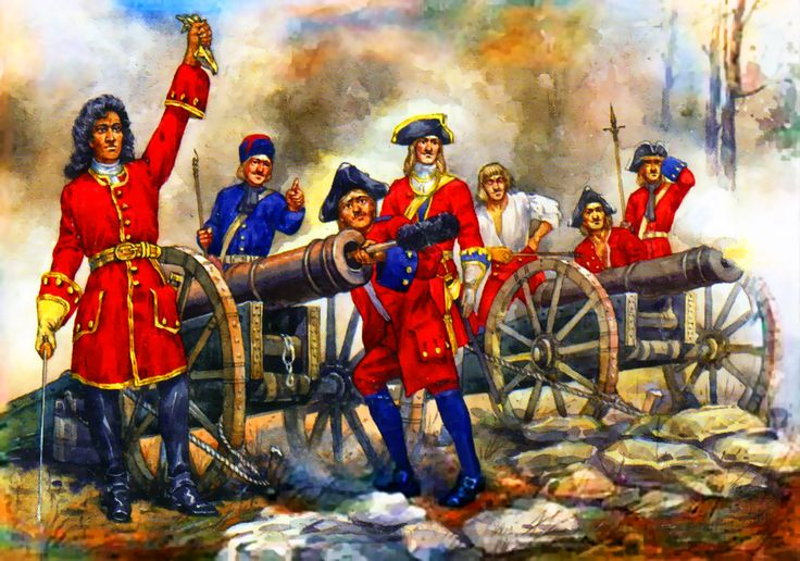 Tsar Peter the Great's Russian artillery firing at the Swedes at the Battle of Poltava, Great Northern War