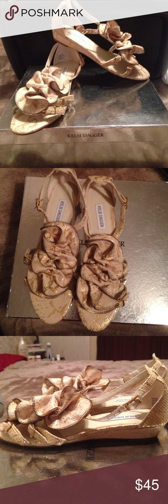 Kelsi Dagger Monroe sandal Very cute gold, snake print sandal! Only worn a couple times! Slight heel but still comfortable Kelsi Dagger Shoes Sandals