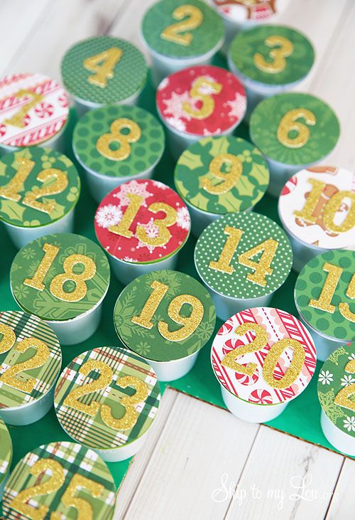 recycled k-cup advent calendar - skip to my lou