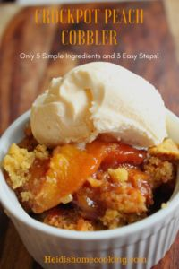 This scrumptious Crockpot peach cobbler recipe has to be the easiest and best homemade dessert! Use fresh, frozen, or canned peaches with cake mix and 3.5 hours later you'll have the perfect old fashioned southern dessert. The slow cooker makes this recipe easy and the ingredients are versatile. Keep the basics the same and you can try other fruits like blueberries, apples, and cherries. I served our peach cobbler in individual ramekins topped with vanilla ice cream.