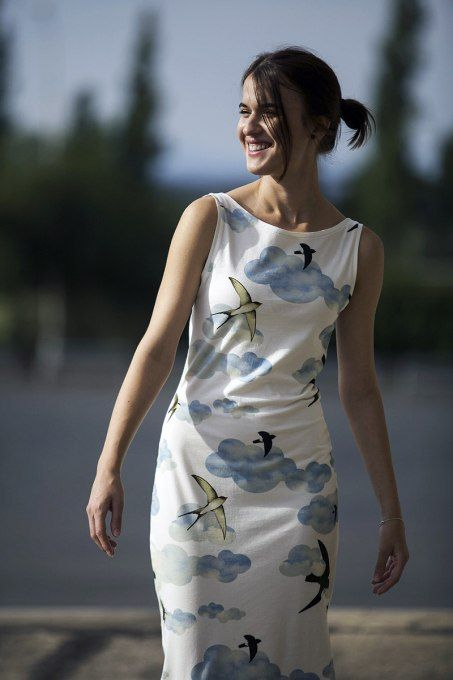 Swallows Jersey Dress by Jain&Kriz. Print and pattern. Cool chic and comfortable. 100% organic cotton.