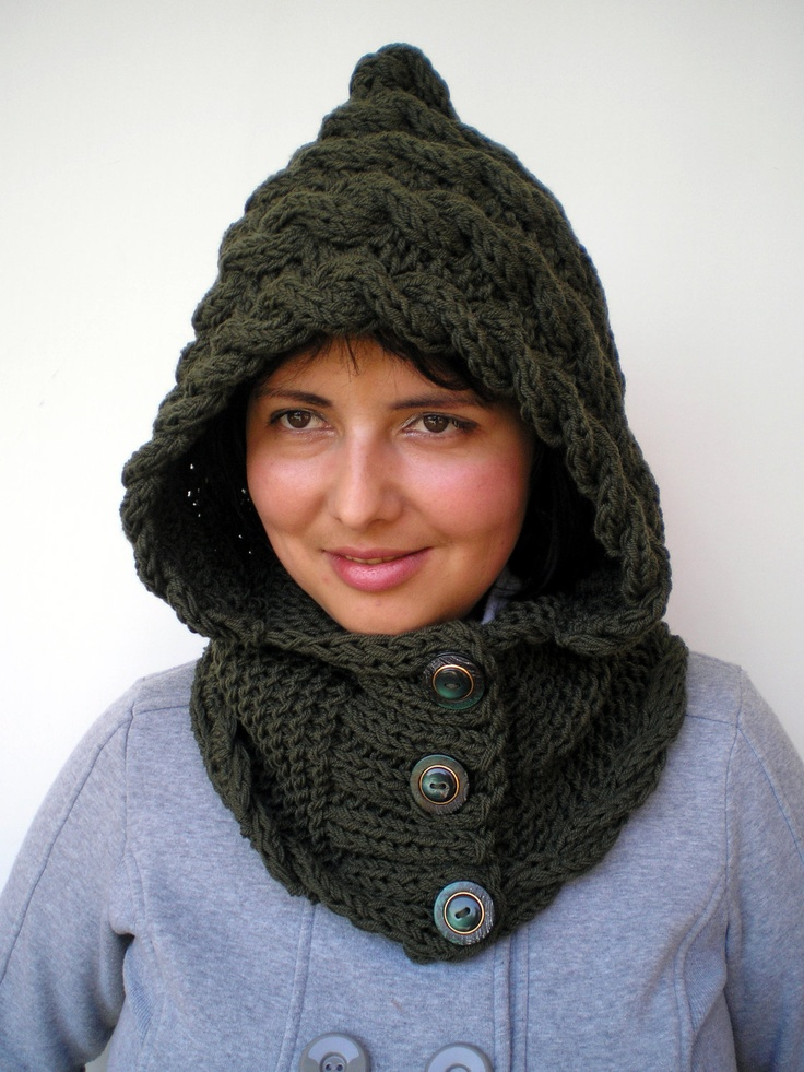 Lady Marion Green  Hood Super Soft mixed  Wool Hooded Cowl Hand Knit Cabled Hat Hood NEW COLLECTION. $75.00, via Etsy.