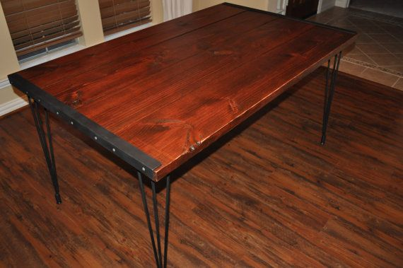 Hand Crafted Farmhouse Dining Table With Hairpin Legs