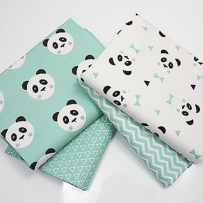MINT or PINK PANDA LOVE - COTTON FABRIC + CHEVRON & TRIANGLE FQ / metre / bundle
