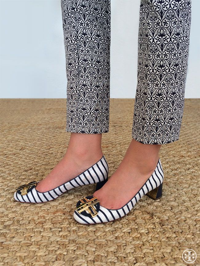 Go bold: Accessorize a micro-print pant with a striped shoe