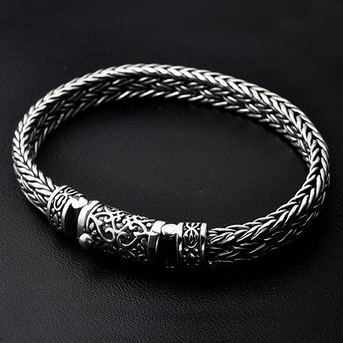 Men's Sterling Silver Ivy Buckle Braided Bracelet   – Men's Accessories