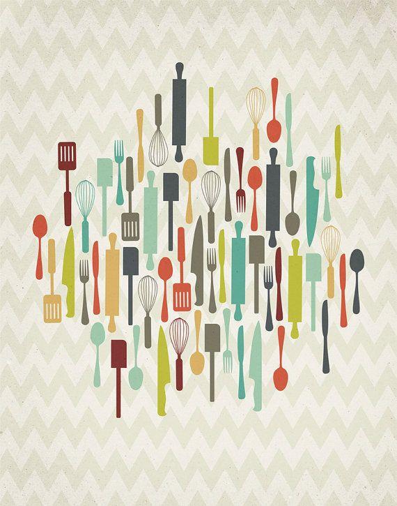 Retro Kitchen Utensils 11x14 Art Print by ProjectType on Etsy