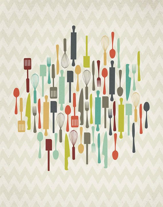 Retro Kitchen Utensils 11x14 Print by ProjectType on Etsy