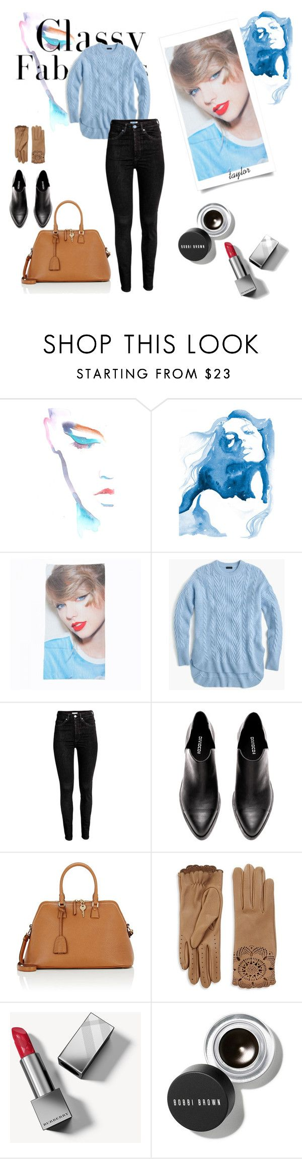 """dressing taylor sift"" by style-by-j on Polyvore featuring WALL, J.Crew, Maison Margiela, Burberry and Bobbi Brown Cosmetics"