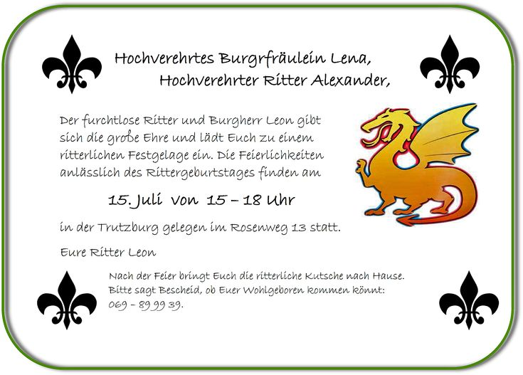 25+ best ideas about kindergeburtstag ritter on pinterest | ritter, Einladung