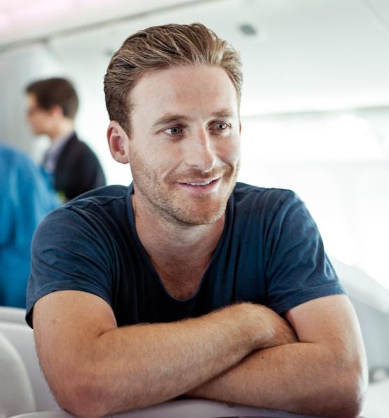 Dean O'Gorman (Fili) aboard Air New Zealand's - The Hobbit 777-300ER