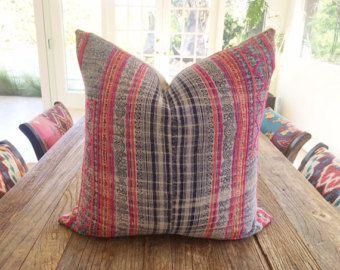 Vintage Handwoven Indigo Hemp Hmong Batik Textile Pillow Cover 21x21