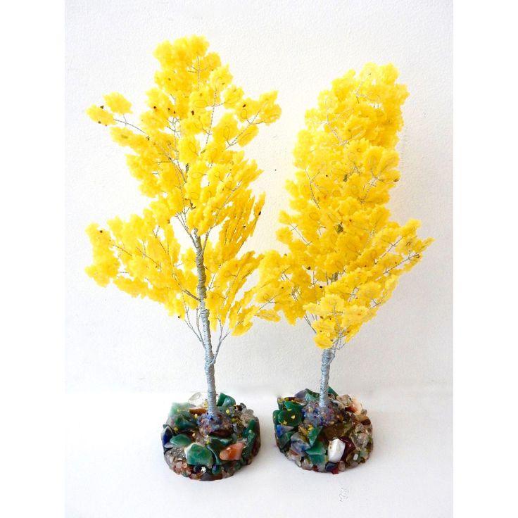 Image of Yellow Quartz & Semi Precious Stone Trees - Pair