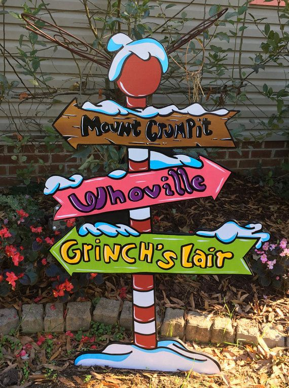 This is a Whoville sign, with Directions! this is super cute and is a great add on to your Whovillage!! This items measurement is 47 inches tall and 31 inches wide. So not a small piece.  Made on MDO signboard, painted with Behr Marquee paints Exterior. and non Yellowing clear coat. The back is black and will be cleared the same as the front and the edges.  * All copyrights and trademarks of the character images used belong to their respective owners and are not being sold/not for sale. ...