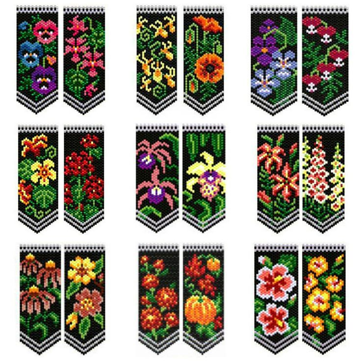Beaded Flower Panels Pattern by Deb Moffett-Hall aka Patterns to Bead at Sova-Enterprises.com
