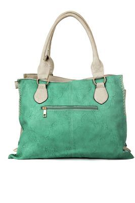 Women cyan and ivory pu leather tote
