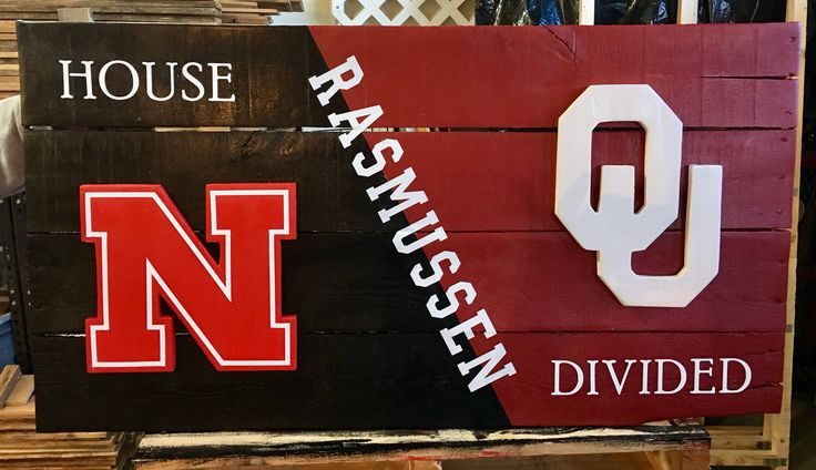 House divided pallet sign Nebraska Oklahoma football