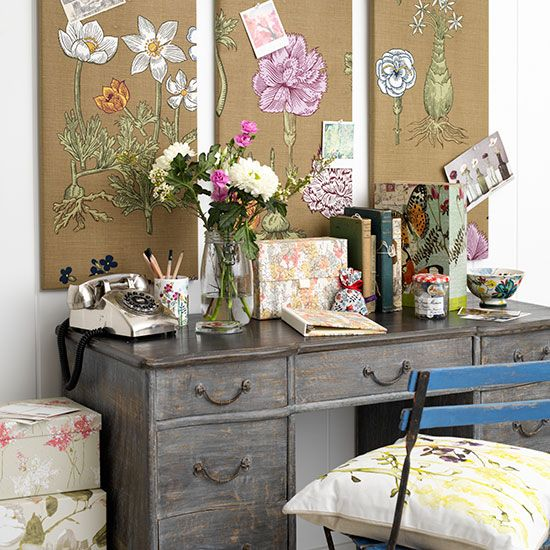 Craft room with a trio of floral noticeboards