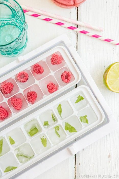 Flavored Ice Cubes - Perfect way to jazz up beverages and add a pop of color with any sunny weather affair.