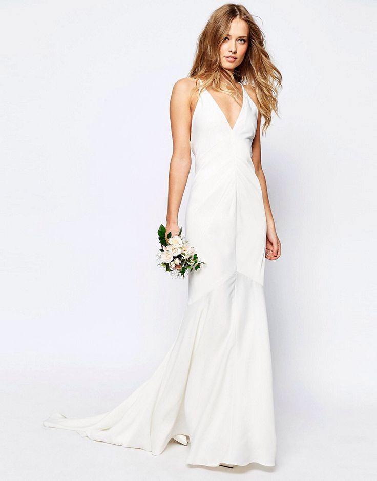 ASOS BRIDAL Deep Plunge Strappy Fishtail Maxi Dress