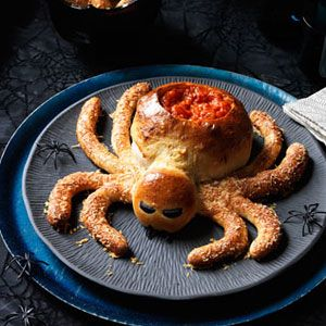 Easy to make Saucy Spider with Hairy Leg Sticks. Perfect for a Halloween feast. #Halloween #food