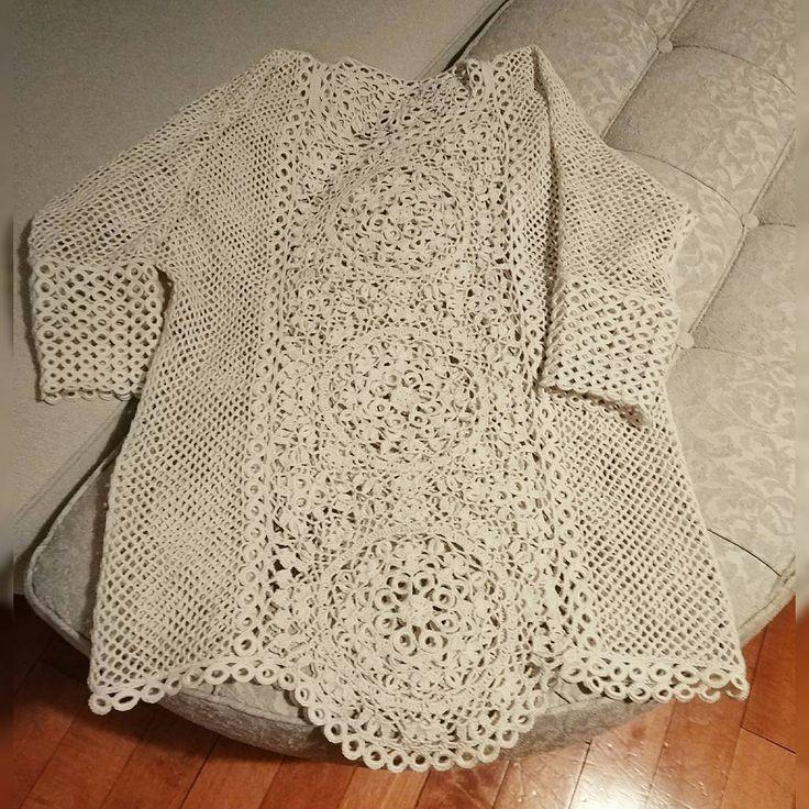 Кружочки довязала,нитки заправила.))))#вязаниекрючком #обучениевязаниюмосква #туника #туникакрючком #кружевокрючком #сетка #винтаж#crochet#crochetlace #vintagecrochet #handmade #