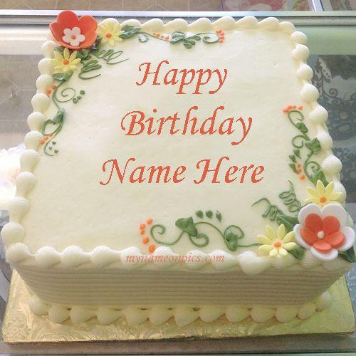 write name on birthday flowers cake  happy birthday cakes
