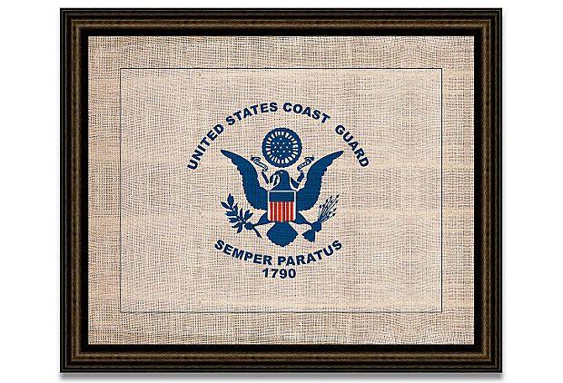 Coast Guard Flag on Antique Burlap on OneKingsLane.com