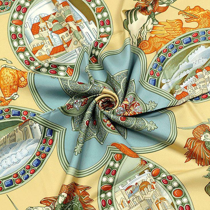 Auth Hermes Paris LE TRIOMPHE DU PALADIN Silk Scarf Foulard ABADIE 90cm #HERMS #ShawlWrap