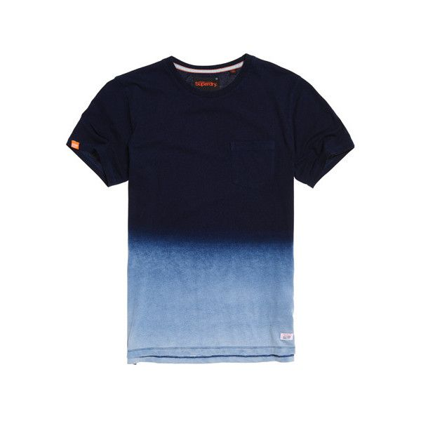 Superdry Lite Loom City Indigo Dip Dye Pocket Tee ($27) ❤ liked on Polyvore featuring men's fashion, men's clothing, men's shirts, men's t-shirts, navy, mens long sleeve shirts, mens long sleeve t shirts, mens t shirts, mens pocket t shirts and mens dip dye shirt