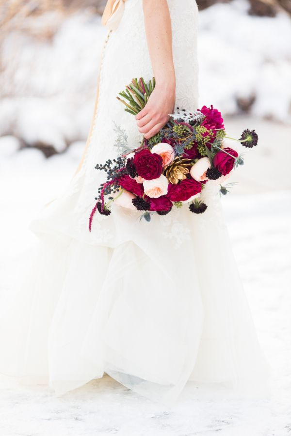 Berry Hued Winter Bouquet: http://www.stylemepretty.com/2015/10/30/classic-winter-church-wedding/ | Photography: DeFiore Photography - http://www.defiorephotography.com/