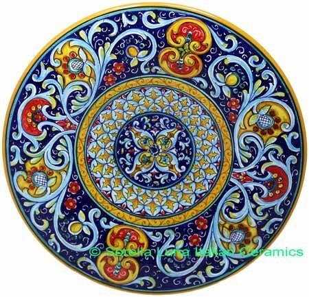Ceramic Decorative plate - Deruta Ricco style - 12 inch diameter (30cm)