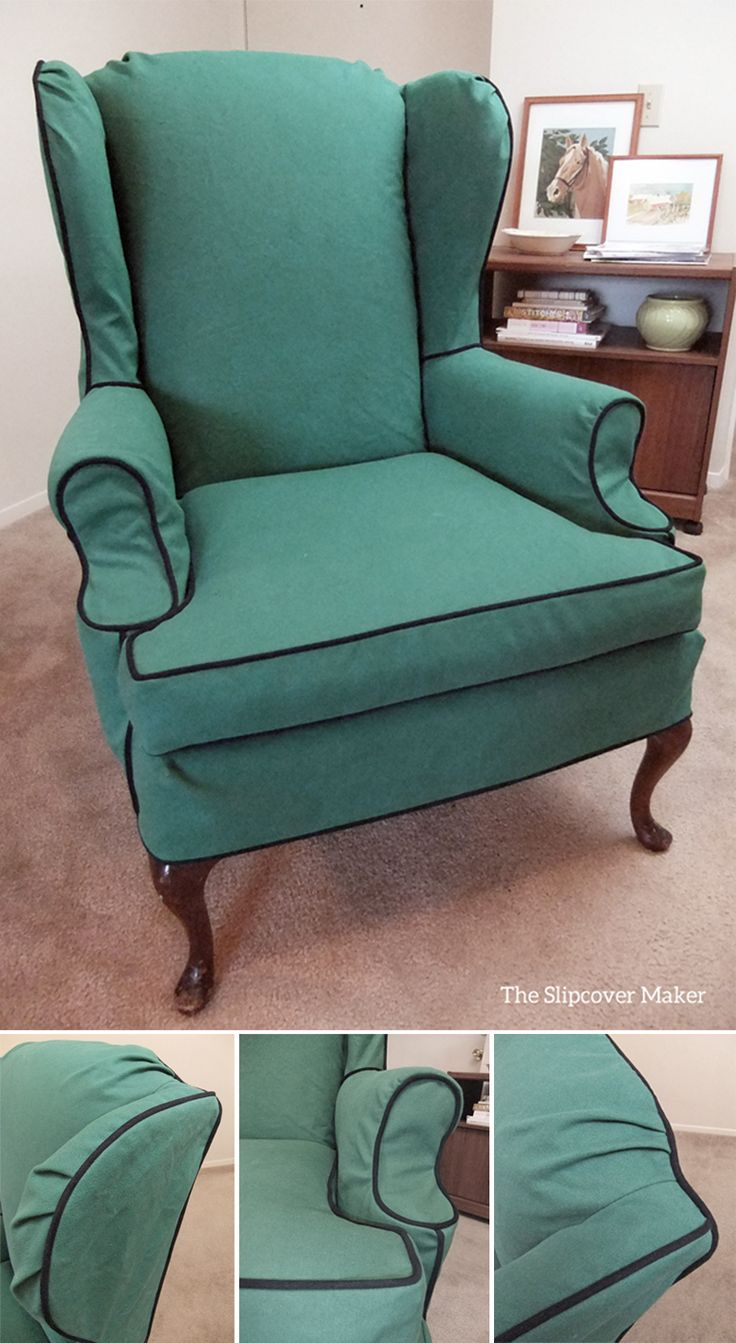 Durable And Washable Custom Slipcover Made With Heavy Weight Cotton Canvas.  Green Trimmed With Navy