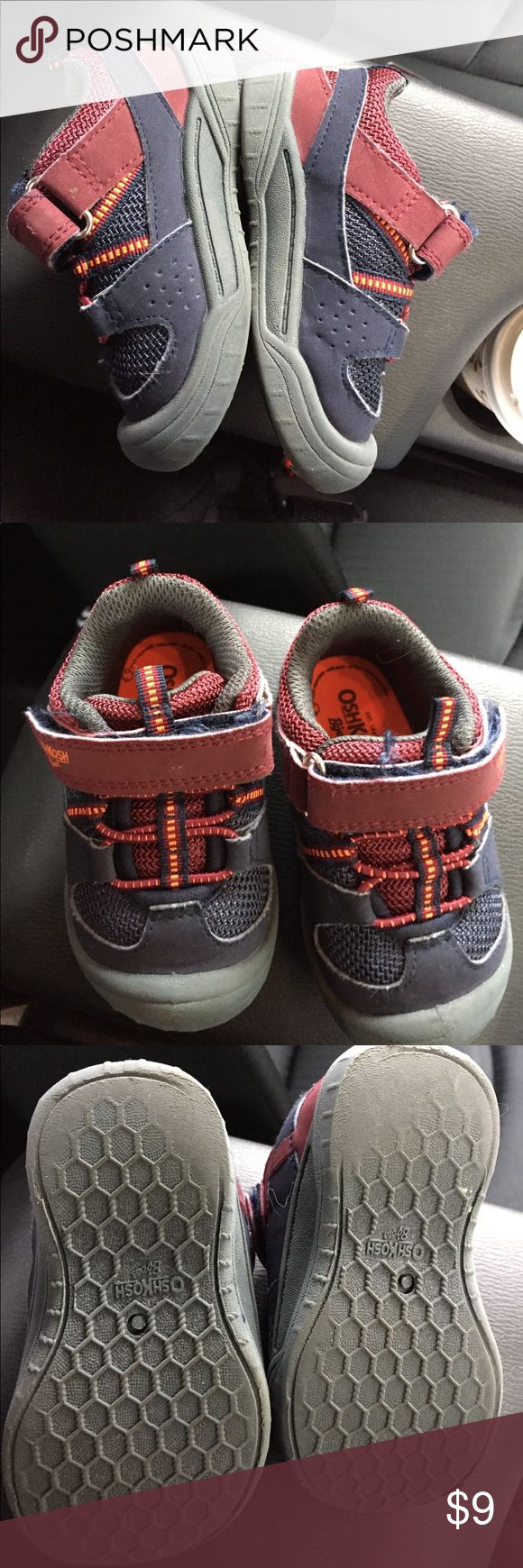 Osh Kosh Toddler Sneakers Boys Size 5.5 Having had a run on the playground, these toddler sneakers have seen their fair share of swings and ambitious first steps. Be the next owner of these comfy, magical first step shoes. Size 5.5 and in good condition. Osh Kosh Shoes Sneakers