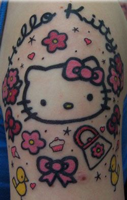 Hello Kitty Tattoo Kawaii Pink Red Bow Cupcake