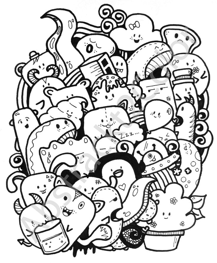 doodle doodles monster simple kawaii coloring drawings party drawing graffiti easy designs colouring inspiration sanat vegetables cizimleri unique candle boyama